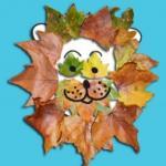 Tête de lion en feuilles d'automne