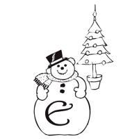coloriage lettre e bonhomme de neige