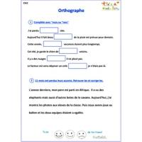 Exercices d'orthographe CM2