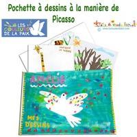Pochette à dessins aux couleurs de la paix façon Picasso