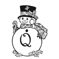 coloriage de la lettre Q bonhomme de neige