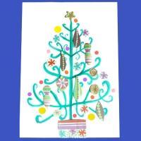 tableau peinture et collage d'un sapin de Noël