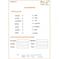 Vocabulaire : exercices de soutien scolaire