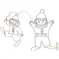Coloriage d'un enfant clown