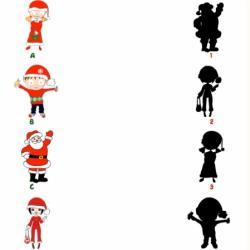 Jeu d'identification des ombres. Il faut retrouver l'ombre de chacun et surtout, il faut trouver l'ombre du Père Noël !