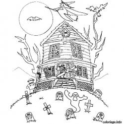 Coloriage maison hantée #05