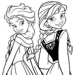 Un dessin à imprimer de la Reine des Neiges représentant Elsa et Anna