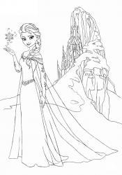 Un dessin à imprimer gratuitement du palais des glaces de la Reine des neiges