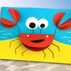 Lors de cette activité les enfants vont découvrir une astuce pour fabriquer un crabe 3D en papier.    Pour ce bricolage, tout ce dont vous aurez besoin c'est : du papier, une paire de ciseaux, un marqueur et un stick de colle !