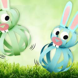 Fabriquez ces petit lapins trop mignons puis faites les bondir dans tous les sens !    Une activité créative originale qui nécessite très peu de matériel : quelques feuilles de papier, une paire de ciseaux, un tube de colle et un feutre noir.
