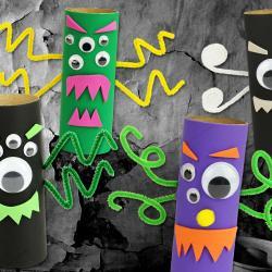 Une activité d'Halloween pour les enfants qui permettra de transformer des rouleaux en carton (ou rouleaux papier toilette) en monstres rigolos ! Faciles à fabriquer, les petits monstres créés pourront même être accrochés partout dans la maison à l&#3