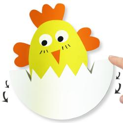En utilisant uniquement des feuilles de papier colorées, de la colle et des ciseaux vous allez pouvoir fabriquer ce petit poussin de Pâques dans son oeuf.  Appuyez avec votre doigts sur l'oeuf et il bascule, on adore !