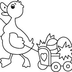 Le dessin canard et son chariot est un joli coloriage de canard. Un coloriage aux traits épais, adaptés aux plus petits et facilement utilisable comme motif à reporter sur tous vos supports. Retrouvez des centaines d'autres coloriages de lapins à imprimer