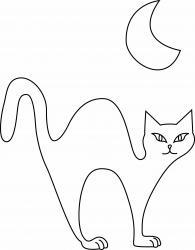 Un coloriage de chat noir dans la nuit, juste éclairé par la lune, à imprimer gratuitement