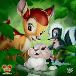 Dans la forêt, les animaux fêtent la naissance d'un jeune faon, Bambi. Devenu orphelin après que sa mère ait été tuée par des chasseurs, il est lui même blessé mais parvient a s'échapper. Après avoir sauvé d'un incendie Féline, la jeune biche qu'il aime,