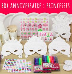 Voici la box anniversaire de princesse de Créabul. Une box tout en un pour inviter, personnaliser, animer et remercier vos invités sur le thème des princesses.