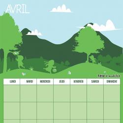 Le calendrier perpétuel du mois d'avril à télécharger et à imprimer gratuitement