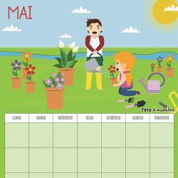 Le calendrier perpétuel du mois de mai à télécharger et à imprimer gratuitement