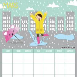 Le calendrier perpétuel du mois de mars à télécharger et à imprimer gratuitement