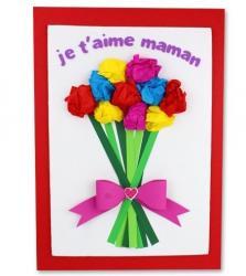 Une belle carte avec un enorme bouquet de fleurs à offrir comme carte de saint valentin à une personne qui l'on aime. Cette activité est adaptée à tous les ages, il ne restera plus qu'à écrire un jolie mot avant de l'offrir