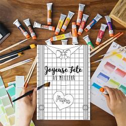 Une jolie carte gratuite à imprimer, colorier, compléter et à offrir au meilleur papa pour la fete des peres. Cette jolie carte sera un cadeau parfait pour la fete des peres avec un petit poeme inscrit a l'interieur.