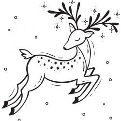 Carte cadeau à colorier : Renne de Noël. Il suffit de l'imprimer et de la colorier. Vous pouvez alors l'offrir en cadeau lors de Noël.