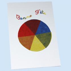 """Cette carte ressemble au """"cercle à six couleurs"""" d'Eugène Batz élève de Kandinsky qui travaillait sur le mélange des couleurs par transparence et les formes géom&eacut"""