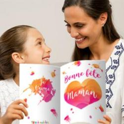 Carte gros coeur en piquage pour la fête des mères