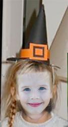 chapeau de sorcière noir et orange