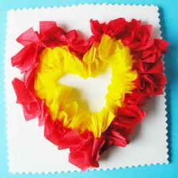 Carte coeur en piquage. Un gros coeur réalisé en piquage pour l'offrir en gage d'amour pour une fête ou pour la saint Velantin. La réalisation de ce coeur demande la précision du geste mis en oeuvre &a