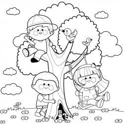 Un coloriage arbre pour tous les enfants qui aiment la nature et les arbres. Page 10