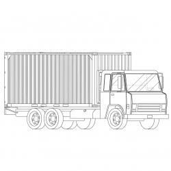 Coloriage camion : voici un dessin à imprimer avec un très beau camion. Un coloriage à imprimer sur le thème des camions et des véhicules - Page 01