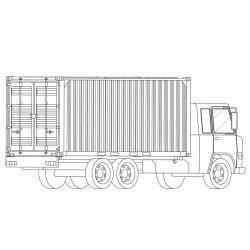 Coloriage camion : voici un dessin à imprimer avec un très beau camion. Un coloriage à imprimer sur le thème des camions et des véhicules - Page 04