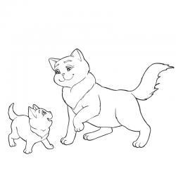 Voici un coloriage chat à imprimer gratuitement. Un dessin de chat à imprimer pour tous les petits amoureux des animaux. Page 9