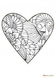 Voici le coloriage coeur #07. Un joli dessin à imprimer gratuitement plein d'amour !
