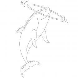 Coloriage dauphin : voici un dessin à imprimer avec un superbe dauphin. Un coloriage à imprimer sur le thème des dauphins et des animaux marins - Page 04