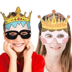 Un masque à colorier pour porter une couronne et se transformer en roi, en reine, en prince ou en princesse ! Un masque à dessiner et à colorier puis à décorer selon son envie avec des crayons de couleur, des feutres et même des stickers, des strass