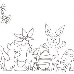 Coloriage de Pâques à imprimer. Coloriage du lapin et de la poule au milieu des oeufs de Pâques