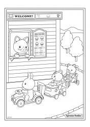 Un dessin à imprimer au drive de Sylvania où les enfants sylvanian commandent leurs plats