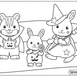 Un dessin à imprimer de la fête d'Halloween des Sylvanian