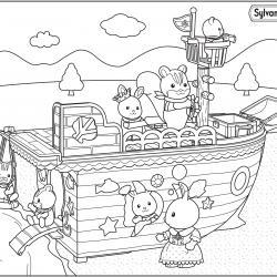 Les Sylvanian sont à bord du bateau chasse au trésor