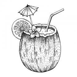 Voici un coloriage d'été sur le thème des vacances avec un cocktail de fruits servi dans une coco. Un dessin à imprimer pour les amoureux de la saison estivale.