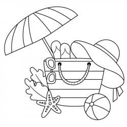 Voici un coloriage d'été sur le thème des vacances avec un sac de plage bien rempli de jeux d'été. Un dessin à imprimer pour les amoureux de la saison estivale.