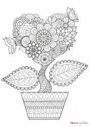 Le coloriage d'un arbre en coeur est un dessin à imprimer sur le thème de la nature et de l'amour