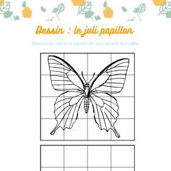 Imprimer un coloriage d'un dessin à cases papillon afin de pouvoir le redessiner et le colorier.
