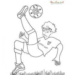 Coloriage d'un footballeur devant les buts