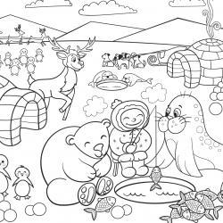 Imprimez votre coloriage d'igloo ou d'Inuits gratuitement et proposez à votre enfant un joli coloriage sur le thème de la banquise et de l'hiver. Page 04