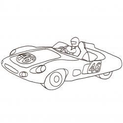 Coloriage d'une voiture de course ancienne. Une Formule 1 des années 60, 70. Un dessin à imprimer et à colorier avec des crayons de couleurs ou des feutres.