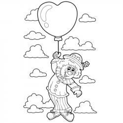 Coloriage enfant clown au ballon. Coloriage d'un dessin d'enfant clown suspendu à un ballon pour le cirque