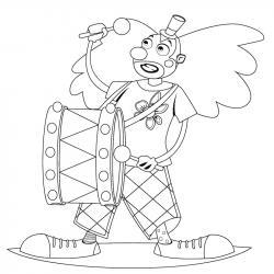 Coloriage enfant clown au tambour. Coloriage d'un dessin d'enfant clown et son petit tambour : un coloriage sur le monde du cirque